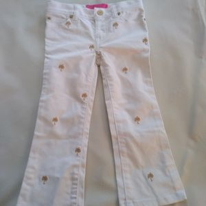 Lilly Pulitzer Jubilee Girls Jeans white and Gold